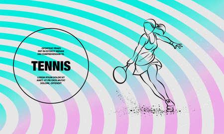 Professional woman tennis player illustration. Vector outline of tennis sport illustration. Ilustração