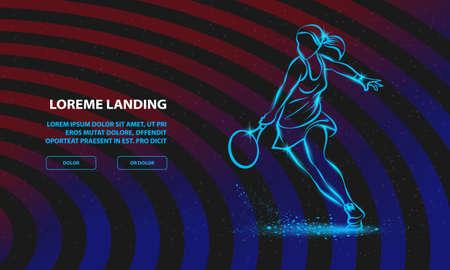Professional woman tennis player illustration. Vector Sport Background for Landing Page Template. Ilustração
