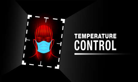 Automatic temperature control banner. Neon human head in medical mask and digital tracking frame. Illustration