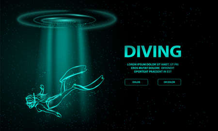Shining diver girl silhouetted under a rays of light from the sea water surface above. Diving and snorkeling neon illustration for landing page or banner template.