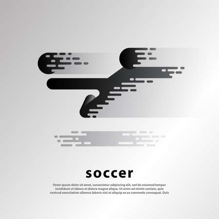 Flying kick by soccer player. Flat abstract soccer illustration with soccer player and ball.