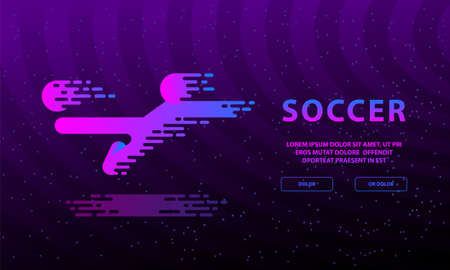 Flying kick by football player. Flat neon soccer illustration with soccer player and ball for landing page. Çizim
