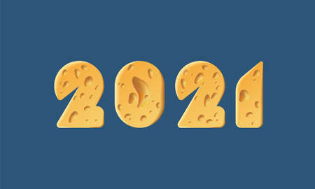 Happy New Year 2021 text design. Cheese texture 2021 text design for pizzeria holiday menu Vectores