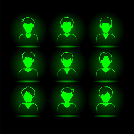Green neon mans avatar set. Virtual character glowing icons collection for black user interface