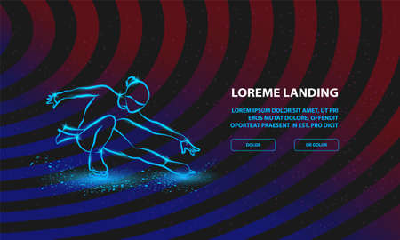 Figure skating neon illustration. Vector girl on skates performs her dance for Landing Page Template