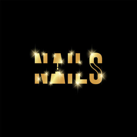 Typography and minimalistic golden nails text logo with nail polish bottle in A letter symbol