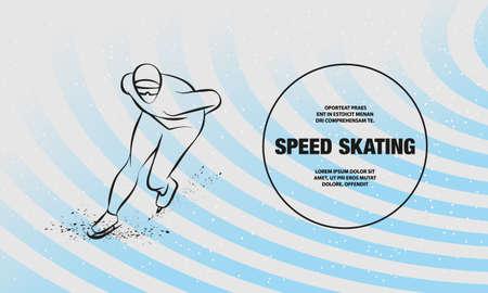 Speed skater. Vector outline of winter sport illustration Ilustracja