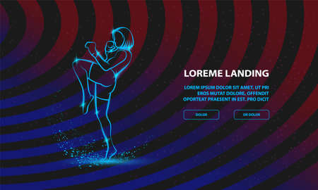 Muay Thai boxing fighter woman kick knee. Vector Sport Background for Landing Page Template Ilustracja