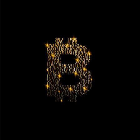 Bitcon symbol like golden lines structure on black background. Cryptocurrency sign and electrical golden lines Ilustracja