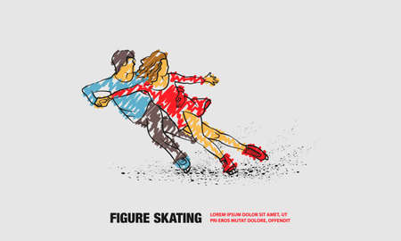 Professional pair figure skating sport. Vector outline of figure skating sport with scribble doodles style drawing Ilustracja