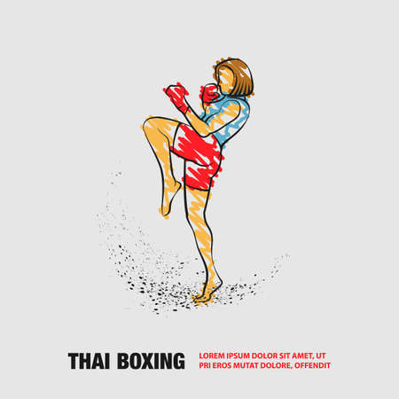 Muay Thai boxing fighter woman kick knee. Vector outline Muay Thai boxing with scribble doodles style drawing