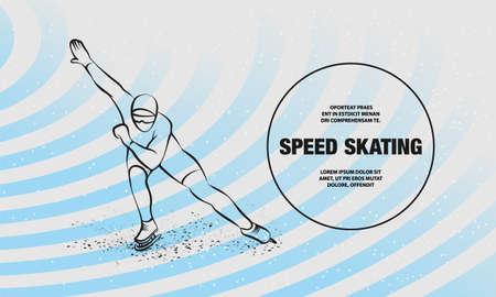 Speed Skating. Vector outline of winter sport illustration