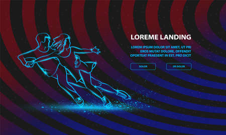 Professional pair figure skating sport. Vector Sport Background for Landing Page Template