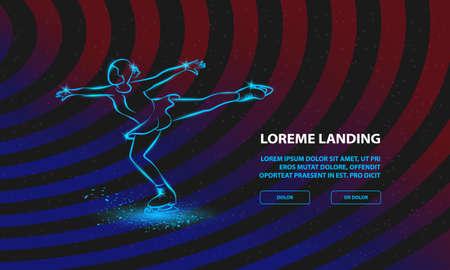 Figure skating neon illustration. Vector girl dances on ice for Landing Page Template Ilustracja
