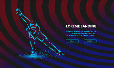 Speed Skating. Vector Sport Background for Landing Page Template