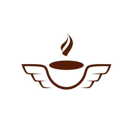 Simple and flat coffee mug with wings icon. Vector aromatic coffee flies logo idea for the business card, branding and corporate identity