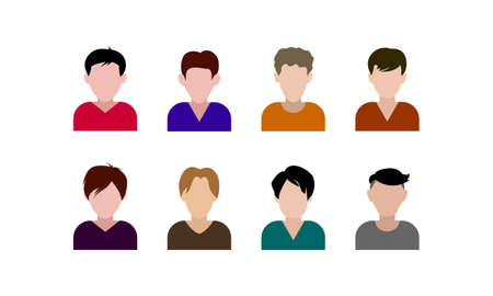 Flat men with different hairstyle avatar icons set