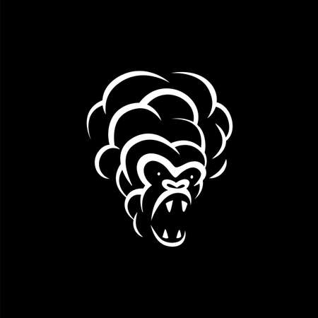 Linear white smoke monkey face icon on black background. Vector smoke hookah monkey logo idea for the business card, branding and corporate identity