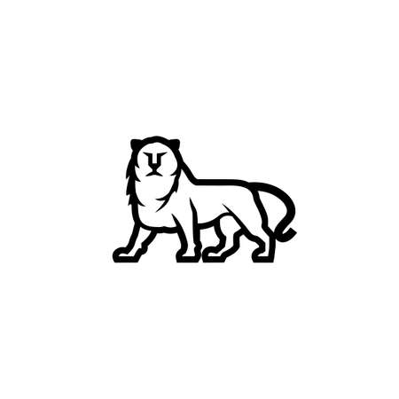 Simple and linear lion icon. Vector heraldic lion logo idea for the business card, branding and corporate identity