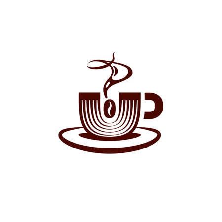 Simple and flat coffee mug icon. Vector coffee mug and magnet logo idea for the business card, branding and corporate identity
