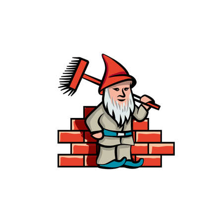 Simple and flat gnome builder with cleaning brush. Vector construction cleaning logo idea for cleaning company Ilustracja