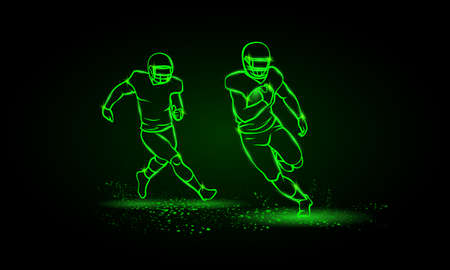 American football players. Runaway player with ball and the catching player behind. Green Neon American football Sports Vector Illustration