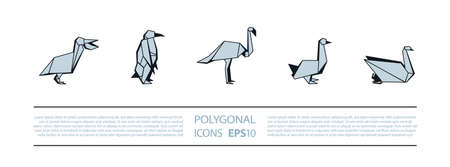 Polygonal Birds Linear Icons Set. Low poly waterfowl bird icon for banner such as pelican, penguin, flamingo and swan