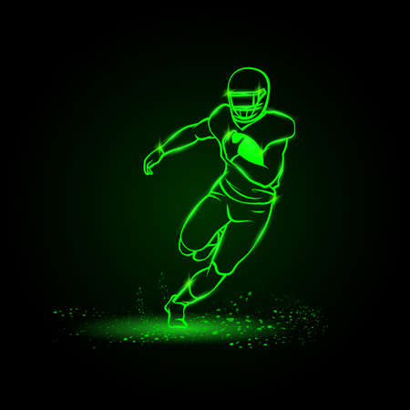 American football player runs away with the ball. Green Neon American football Sports Vector Illustration
