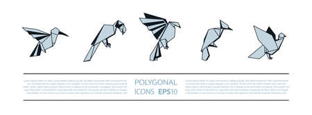 Polygonal Birds Linear Icons Set. Low poly bird icon for banner such as hummingbird, parrot, eagle, woodpecker and pigeon