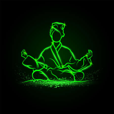 Girls in lotus position meditate in bathrobe and take a spa treatments. Vector green neon yoga illustration.