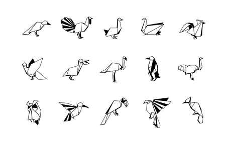Polygonal Birds Linear Icons Set. Low poly bird logo Ilustracja