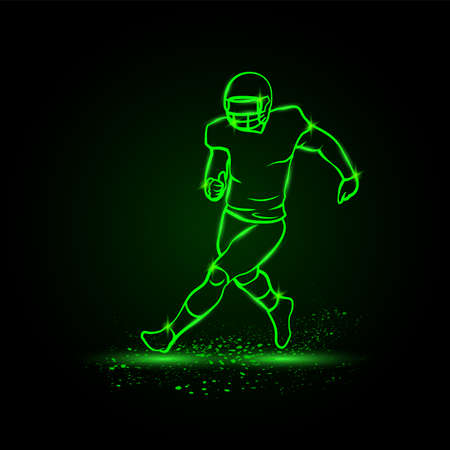 Running American football player without ball. Green Neon American football Sports Vector Illustration