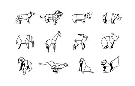 Polygonal Zoo Animals Linear Icons Set. Low poly Animal logo collection.