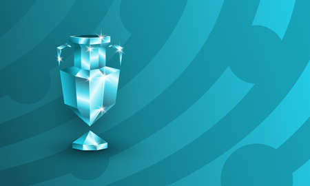 Polygonal soccer trophy logo for football competition. Low poly soccer cup on a blue background with copy space.