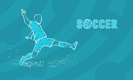 Soccer player with the ball on blue background. White linear sketch for football competition banner