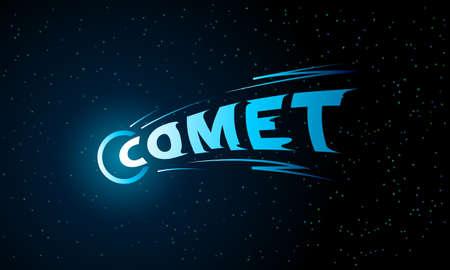 Blue Comet lettering emblem on black background Ilustracja