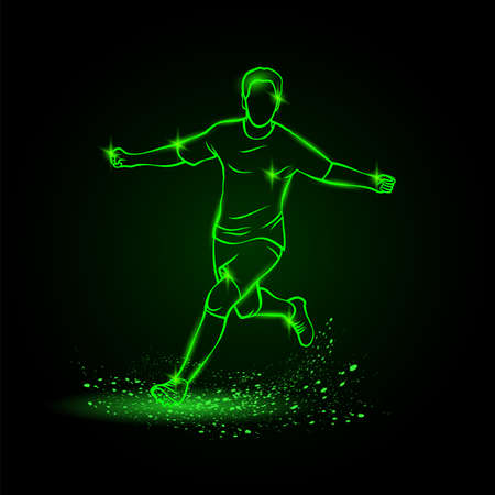 Goalscorer celebrating a goal. Football player winning soccer tournament and running with arms outstretched Ilustracja
