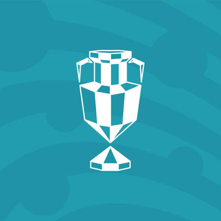 Abstract winner cup icon on a blue background. Polygonal soccer trophy logo for football competition