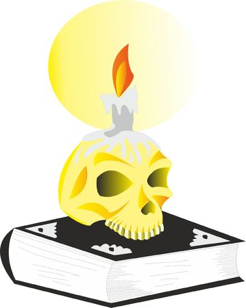 Skull on the book illustration Ilustracja