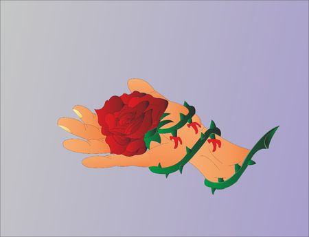 Rose spiked on the palm Ilustracja