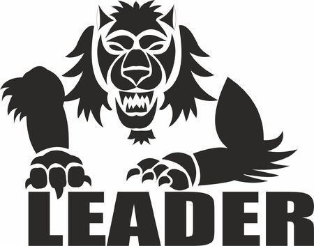 leader text with hairy animal vector illustration on white background.