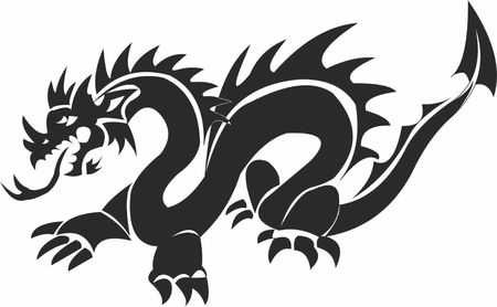 Chinese dragon Snake-moon Illustration