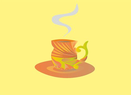 Illustration of a cup and saucer with steam on a yellow background