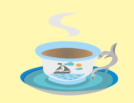 cup and saucer on a sea theme