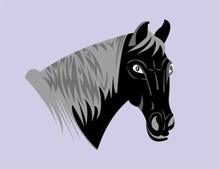 Emblem of a horse illustration on gray background.