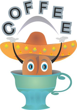 A grain of coffee in a cup vector illustration.