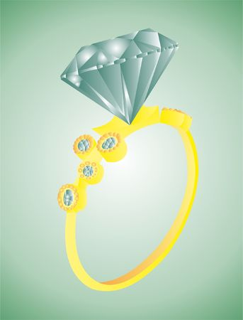 Gold ring with diamond vector illustration design.
