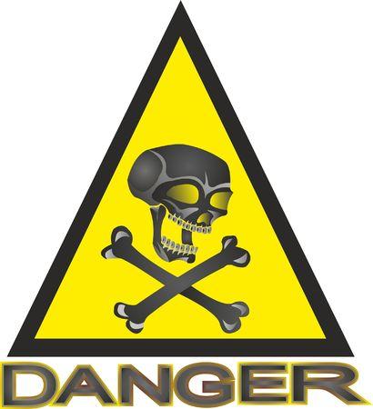 SKULL AND BONE inside triangle for sign of danger Stock Illustratie