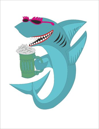 SHARKS with beer advertisement