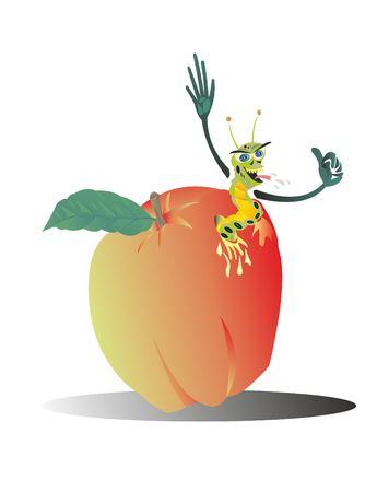 The worm eats a good apple fruit